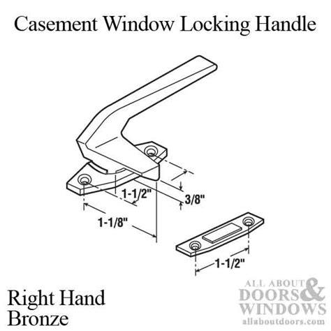 casement window locking handle    hole centers  hand bronze