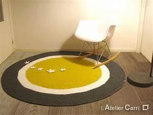 Tapis rond personnalisable en laine avec sujets en relief for Tapis rond gris pas cher