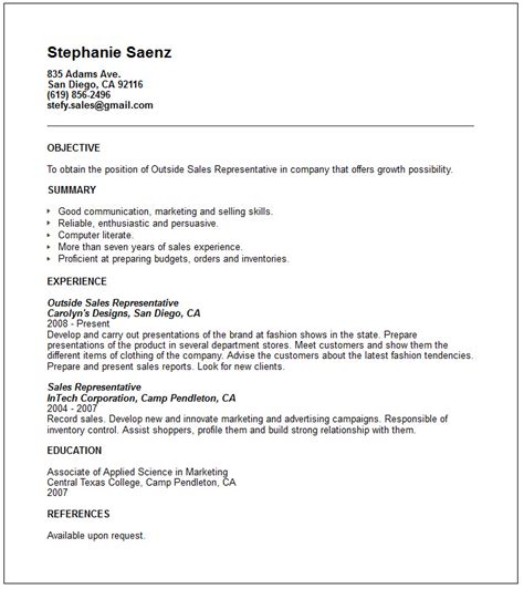 sle of simple resume objectives outside sales resume template resume builder