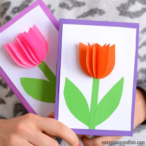 paper tulip card simple mothers day card idea