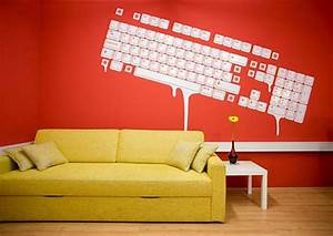 Dripping keyboard wall art office space