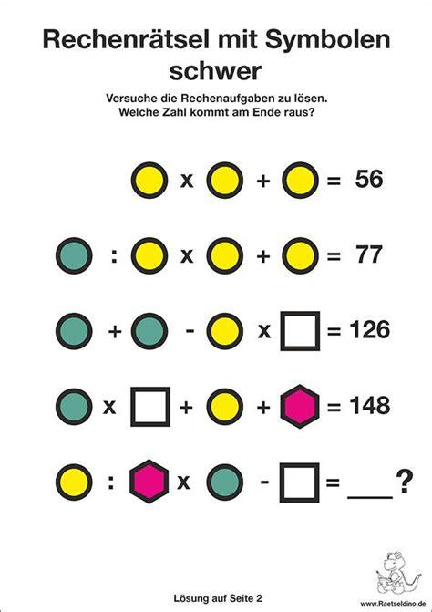 Gartengerät Rechen Rätsel by Zahlenr 228 Tsel Rechenr 228 Tsel Mit Symbolen Schwer Matek