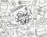 Girly Doodle Stuff Svg Pretty Clipart Makeup Sticker Planner Pack sketch template