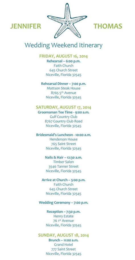 wedding itinerary templates  word  excel