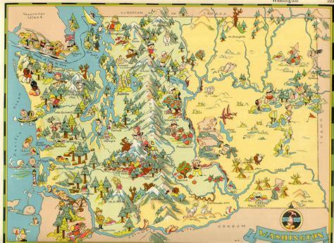 washington state colors washington state travel map c 1930s vintage color