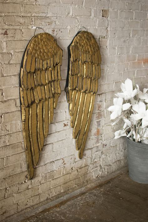 set   painted wooden angel wings