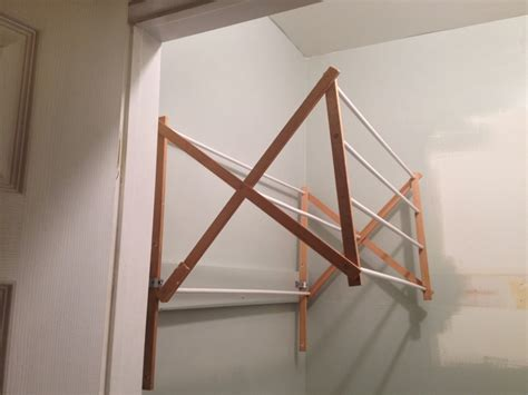wall drying rack two it yourself diy laundry drying rack wall mount from