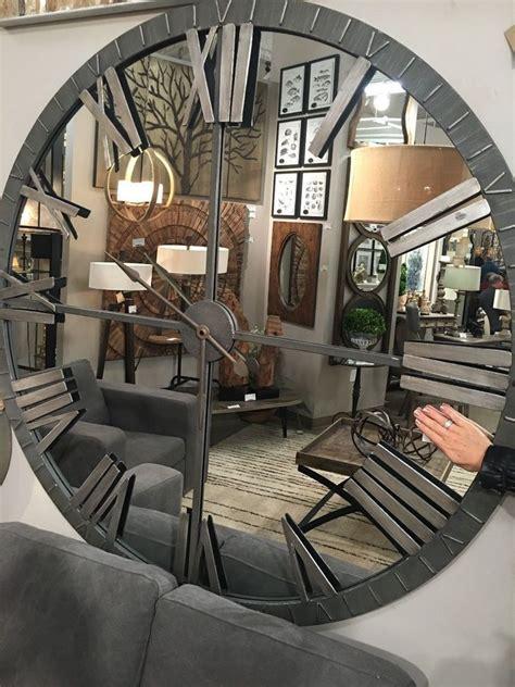 mirrored  aged metal  wall roman clock farmhouse