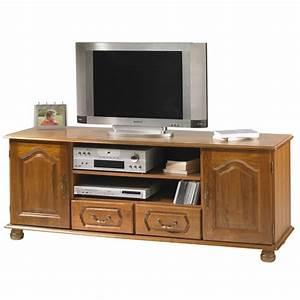 Meuble Tv En Chene : meuble banc tv hifi ch ne 2 portes 2 tiroirs ~ Teatrodelosmanantiales.com Idées de Décoration