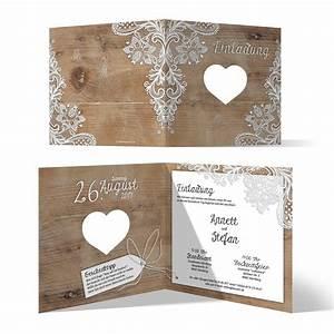 Einladungskarten Für Hochzeit : lasergeschnittene hochzeit einladungskarten rustikal mit wei er spitze ~ Yasmunasinghe.com Haus und Dekorationen