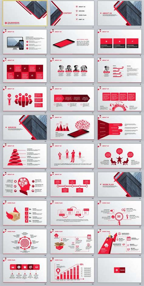 red business report powerpoint template