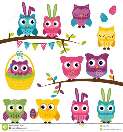 vector collection  easter  spring themed owls stock