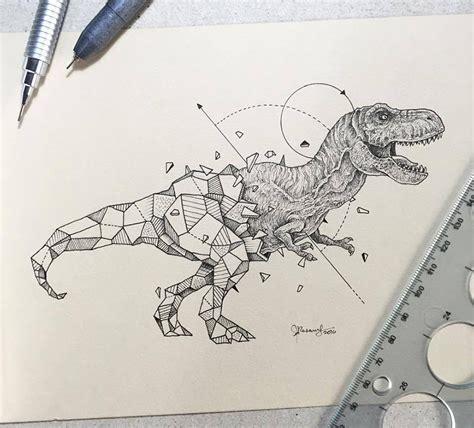 wild animals intricate drawings fused  geometric
