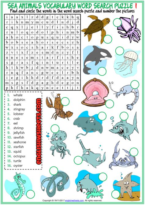 sea animals esl word search puzzle worksheets  kids