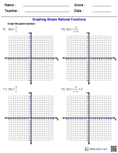 graphing rational functions worksheet graphing simple rational functions worksheets education