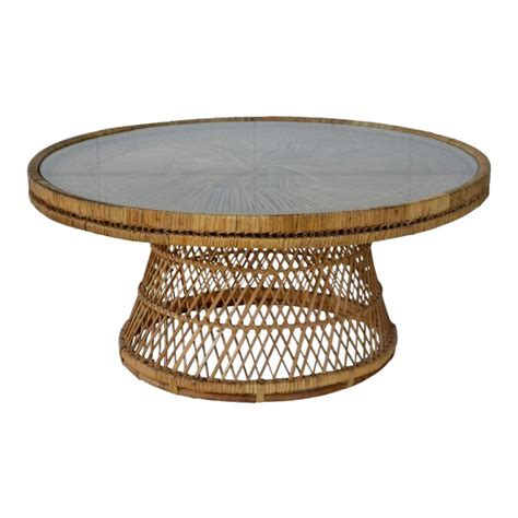 Shop wayfair for all the best leather & faux leather rectangle coffee tables. Mid-Century Woven Rattan Coffee Table | Coffee table, Rattan coffee table, Wicker coffee table