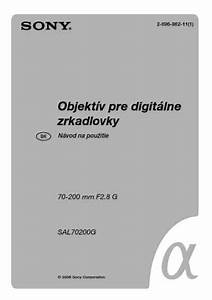 Sony Sal70200g Objective Download Manual For Free Now