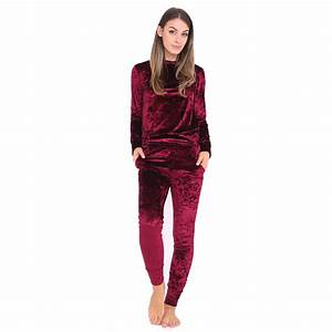 New Women Crushed Velour Velvet Jogger Lounge Wear 2 Piece Co-ordinate Tracksuit | eBay