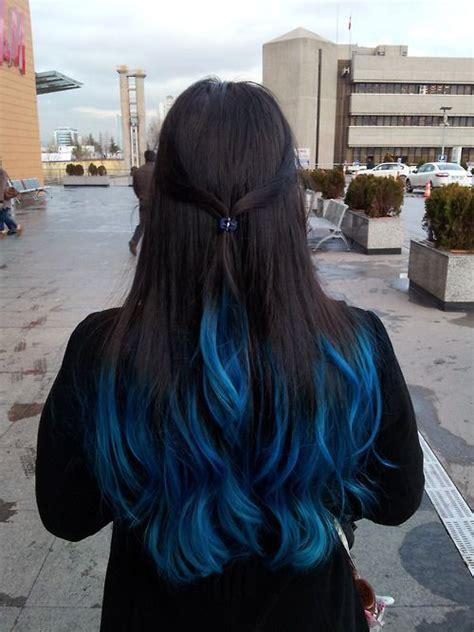 blue ends hair blue hair   hair color  black