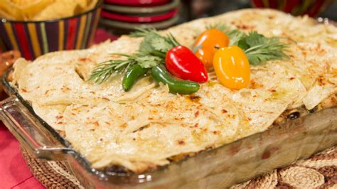 This chicken enchilada casserole is made with an avocado cream sauce for an easy creamy chicken enchilada casserole that the whole family will love! Layered Enchilada Casserole - 3ABN Recipes
