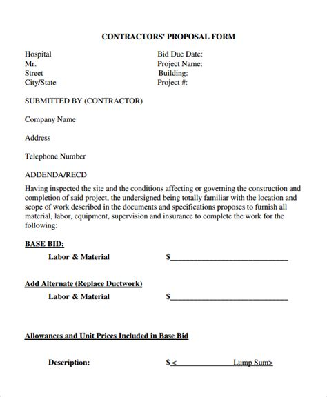 Contractors Bid Template by Contractor Template 13 Free Word Document