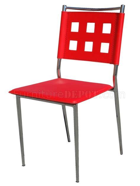 vinyl set of 4 modern dining chairs w chrome frame