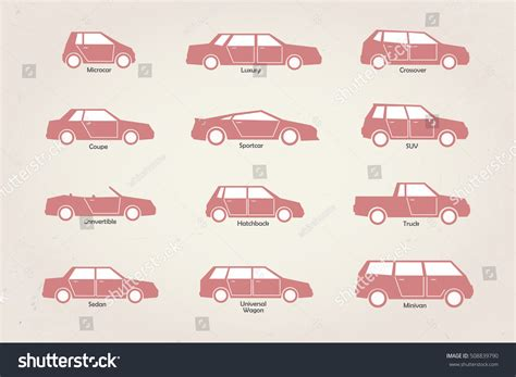 Vector Stylized Different Types Car Body Stock