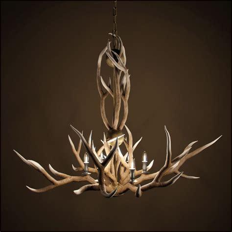 rh adirondack antler 6 arm chandelier 3d model max obj fbx