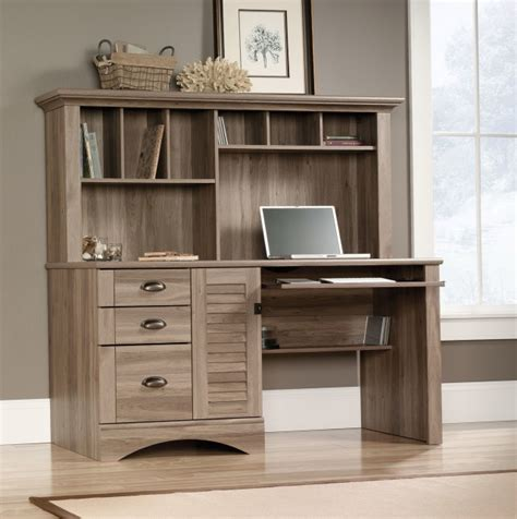 sauder harbor view computer desk with hutch salt oak sauder harbor view computer desk with hutch salt oak