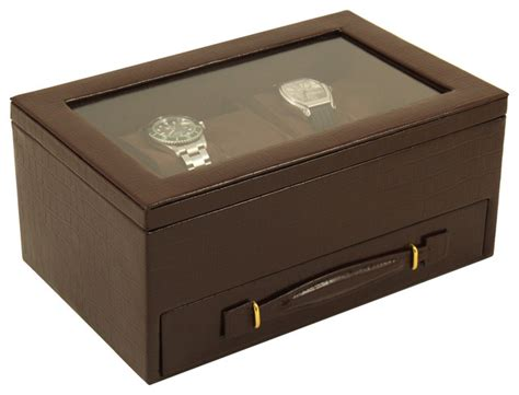 leather 5 watch box traditional dresser valets