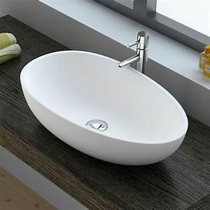 Vasque 35 Cm : vasque poser ovale mati re composite mineral 60x35x16 cm ~ Edinachiropracticcenter.com Idées de Décoration