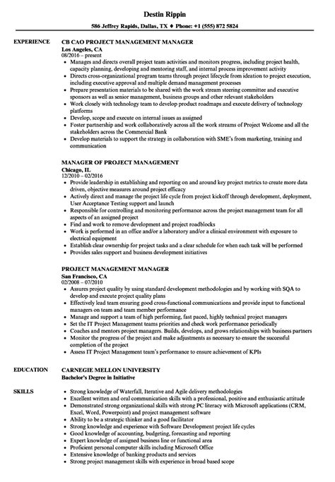 Technical Project Manager Resume by Project Management Manager Resume Sles Velvet