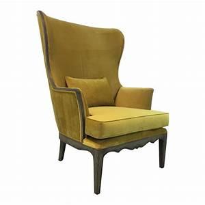 Modern, Chartreuse, Velvet, Wingback, Chair