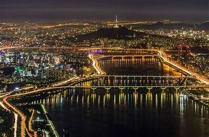 Seoul Korea South Night Lights Panorama Background