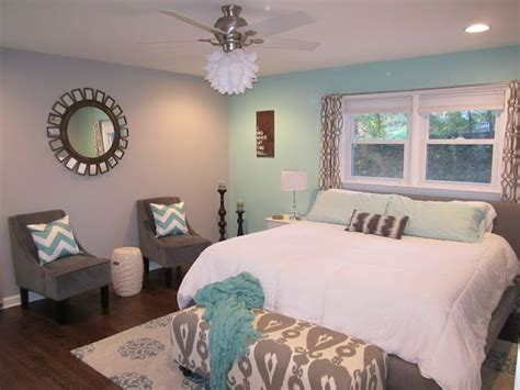 teal and grey master bedroom with chevron master bedroom