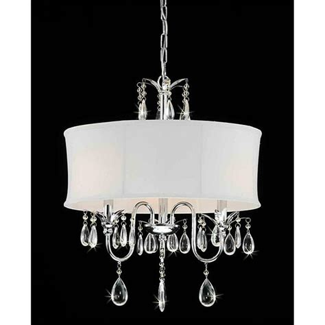 Chandelier Light Fixtures by White Drum Shade Chrome 3 Light Chandelier