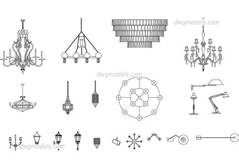 Chandelier Autocad Block by Ls And Chandeliers Free Autocad Blocks Dwg File