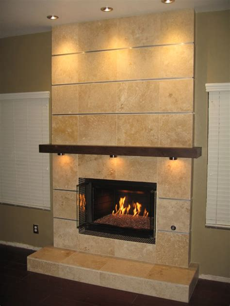 wall tile fireplace contemporary
