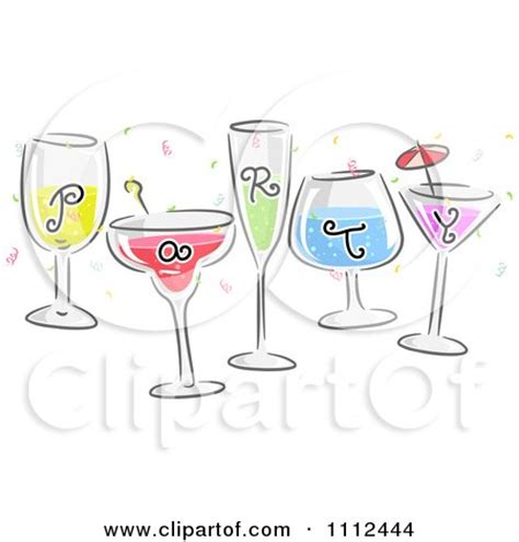 Clipart Happy Champagne Glass Bride And Groom Royalty