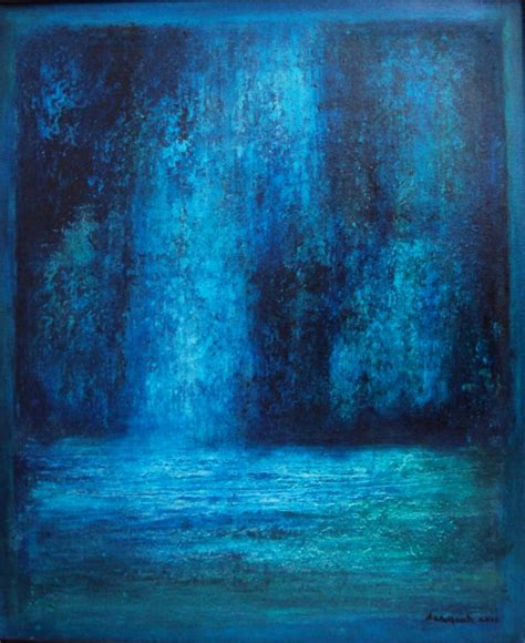 Abstract Black And Blue Painting by Blue Abstract Landscape Painting By Saraswati P Saatchi