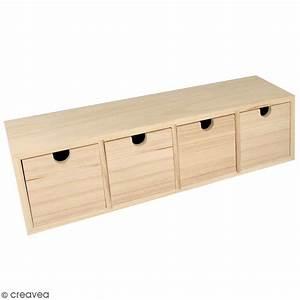 Casier A Tiroir : meuble casier tiroirs en bois brut 4 tiroirs 44 x 10 x 12 cm meuble d corer creavea ~ Teatrodelosmanantiales.com Idées de Décoration