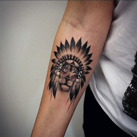 small great black  white indian lion tattoo  forearm