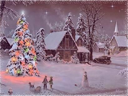 Christmas Animated Merry Cards Snowy Card Scene