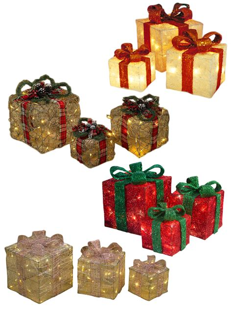 light up presents light up gift boxes presents set of 3 glitter
