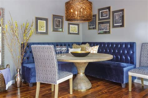 Corner Dining Nook With Blue Banquette