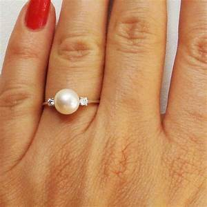Pearl and diamonds engagement ring pearl and diamonds for Pearl engagement ring with wedding band