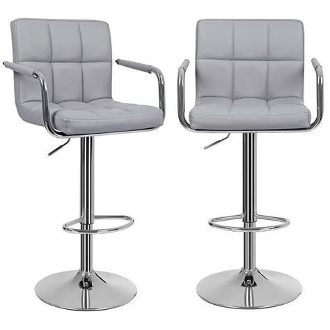 siege de cuisine hauteur lot de 2 tabourets de bar gris haut chaise de bar pu