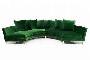 Round sectional in emerald velvet modshop for Emerald green sectional sofa