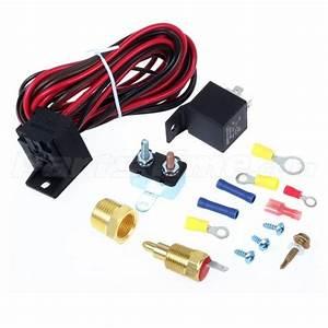 16 U0026quot  Electric Radiator Cooling Fan 185 Degree Thermostat Fan Wiring Relay Kit