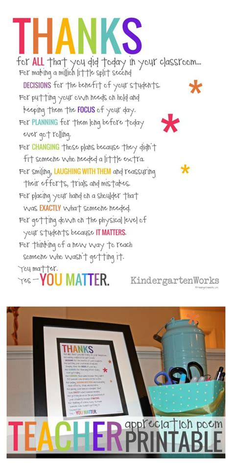 if you didn t hear this from anyone today kindergartenworks 720 | Free Teacher Appreciation Poem Thanks For ALL you did today It matters.